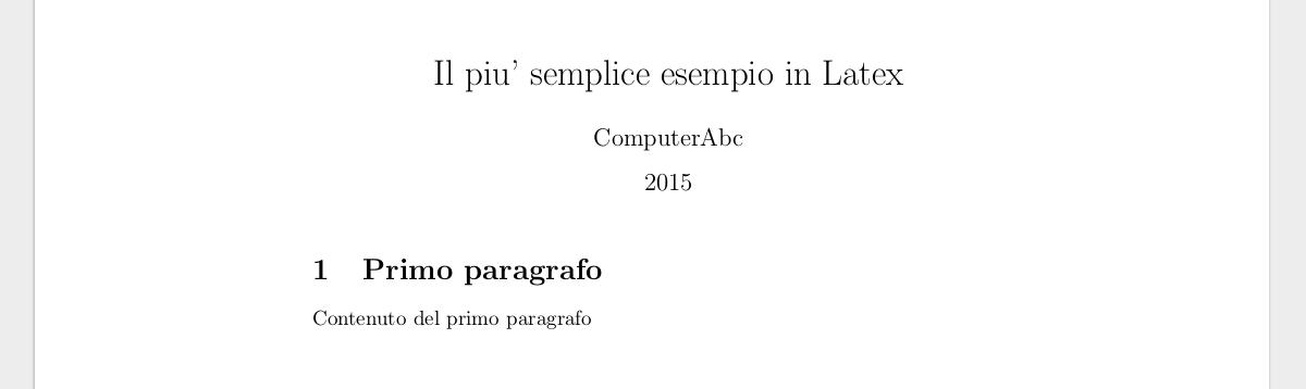 Esempio latex pdf